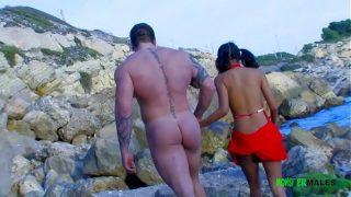 Big dick tattooed body builder Rob fucks Petite Indian outdoors